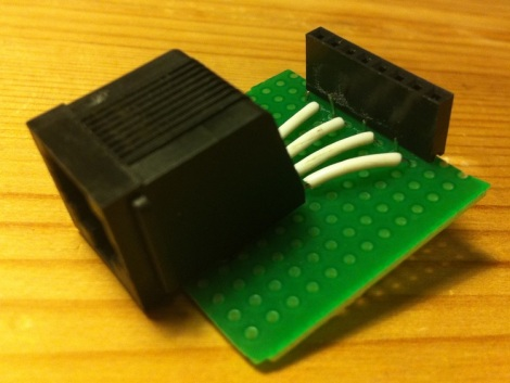 Home made breakout ethernet board, from above